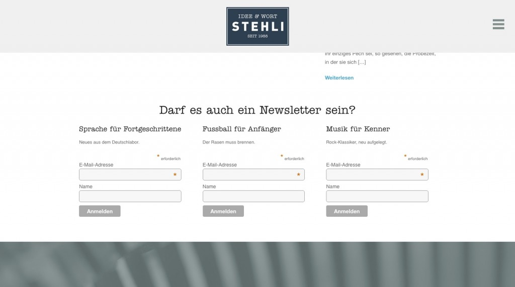 stehli-newsletterintegration